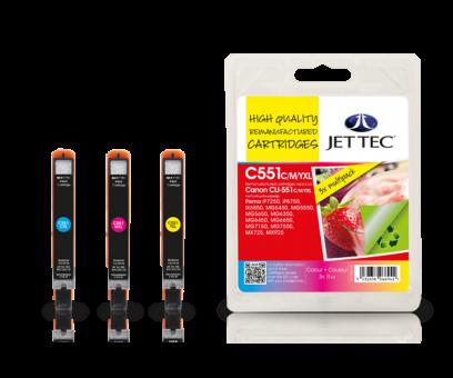 Jet Tec Tintenpatronensatz (3 Patronen) C551C/M/Y XL