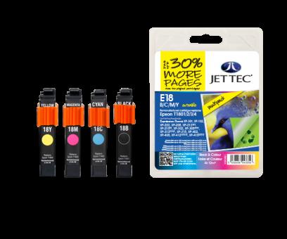 Jet Tec Tintenpatronensatz (4 Patronen) E18B/C/M/Y